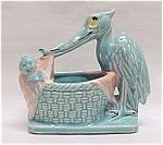 Vintage Mccoy Pottery 1956 Stork Baby Nursery Planter
