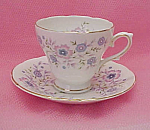 1974 Avon Blue Blossoms Flowers Bone China Cup & Saucer