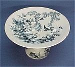 Blue Transferware Stork Compote H&c Ironstone Porcelain