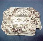 Brown Transferware Condiment Jar Dish Sugar Bowl Lid