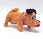 Vintage Windup Fur Puppy Dog Toy Walks Ears Tail Wags