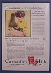 1931 Carnation Milk With Woman Rocking Baby In Crib