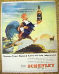 1946 Schenley Whiskey With Rooster Holding Bottle