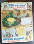 1940 Hellmann's Mayonnaise With Melon Shell Salad