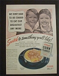 1940 Kellogg's Corn Flakes Cereal With A Boy & Girl