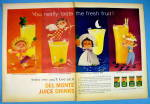 1959 Del Monte Juice Drinks With 4 Different Juices