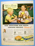 1938 Nucoa Margarine W/ Children Eating Bread
