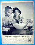 1965 Riceland Rice With 2 Children Looking At Rice