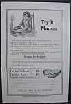 1916 Dual Ad: Quaker Oats & American Chain Co.
