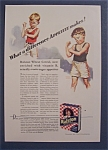 1931 Ralston Wheat Cereal W/2 Boys Feeling Muscles