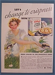 1934 Kellogg's Corn Flakes Cereal With Woman In Grass