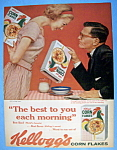 1959 Kellogg's Corn Flakes With A Man & An Empty Box