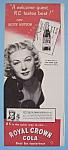 Vintage Ad: 1946 Royal Crown Cola W/ Betty Hutton