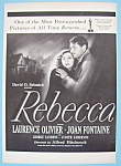 Vintage Ad: 1946 Rebecca With L. Olivier & J. Fontaine