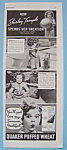 1937 Quaker Puffed Wheat W/how Shirley Temple Vacations