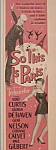 Vintage Ad: 1955 So This Is Paris W/ Curtis & De Haven