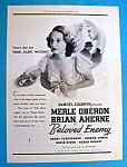 Vintage Ad: 1937 Beloved Enemy With Merle Oberon