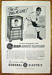 1951 G E Black Daylite Television W/ Bob Feller