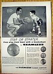 1958 Seamless Basketball With Boston Celtics Bob Cousy