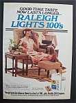 1978 Raleigh Lights 100's Cigarettes