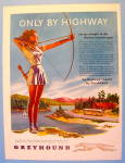1946 Greyhound Bus Lines With Woman & Bow & Arrow