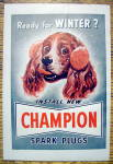 1949 Champion Spark Plugs With Dog Wearing Earmuffs