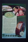 1936 Firestone Tires W/mother & Daughter In Car Window
