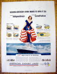 1951 American Export Lines W/ Woman In Patriotic Dress
