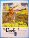 1950 Santa Fe Chiefs With Indian Chief Watching Train