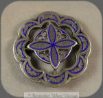 Victorian Silver And Blue Enamel Layered Brooch