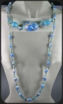 Long Flapper Necklace With Aqua Foiled Glass Beads