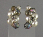 Trifari Faux Pearl And Carnival Glass Bead Earrings