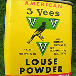 Louse Powder Tin Antique Canary Pet Bird 3 Vees Tin Full