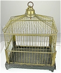 Pet Bird Canary Cage Victorian German Brass Wire & Glass Treasure