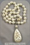 Faux Pearls And Rhinestone Rondels With Baroque Pearl Pendant