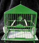 Antique Birdcage With Milk Glass Feeder