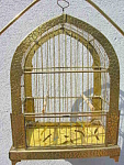Hammered Brass Hand Painted Glass Bird Cage & Stand