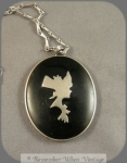 Vintage Silver And Black Enamel Compact Necklace