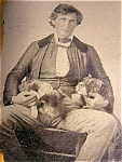 Dandy Guy Great Pet Dog Ambrotype Antique Photograph 1/4