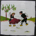 Vintage Wood Framed Dutch Boy & Girl Dancing Tile