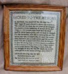 Sampler Memorial 1847 Framed Memento Mori