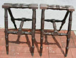 Antique Victorian Turned Wood Coffin Stand Set
