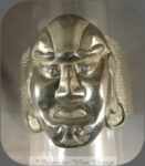 Silver Chinese Warrior Face Hammered Cuff Bracelet