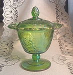 Indiana Glass Harvest Grape Green Iridescent Candy Dish