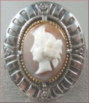 Vintage Jewelry: Hand-carved Roman Woman Shell Cameo