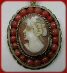 Vintage Shell Cameo And Coral Pendant Necklace