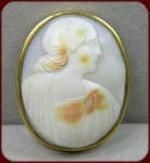 Large Hand-carved Shell Cameo Of A Grecian Woman