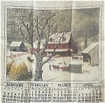 New 1971 Winter Farm Scene Kitchen Calendar Tea Towel