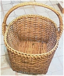 Large Vintage Wood Splint Basket W/ Reinforced Handles
