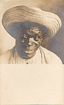 Real Photo Post Card Black American Man In Straw Hat